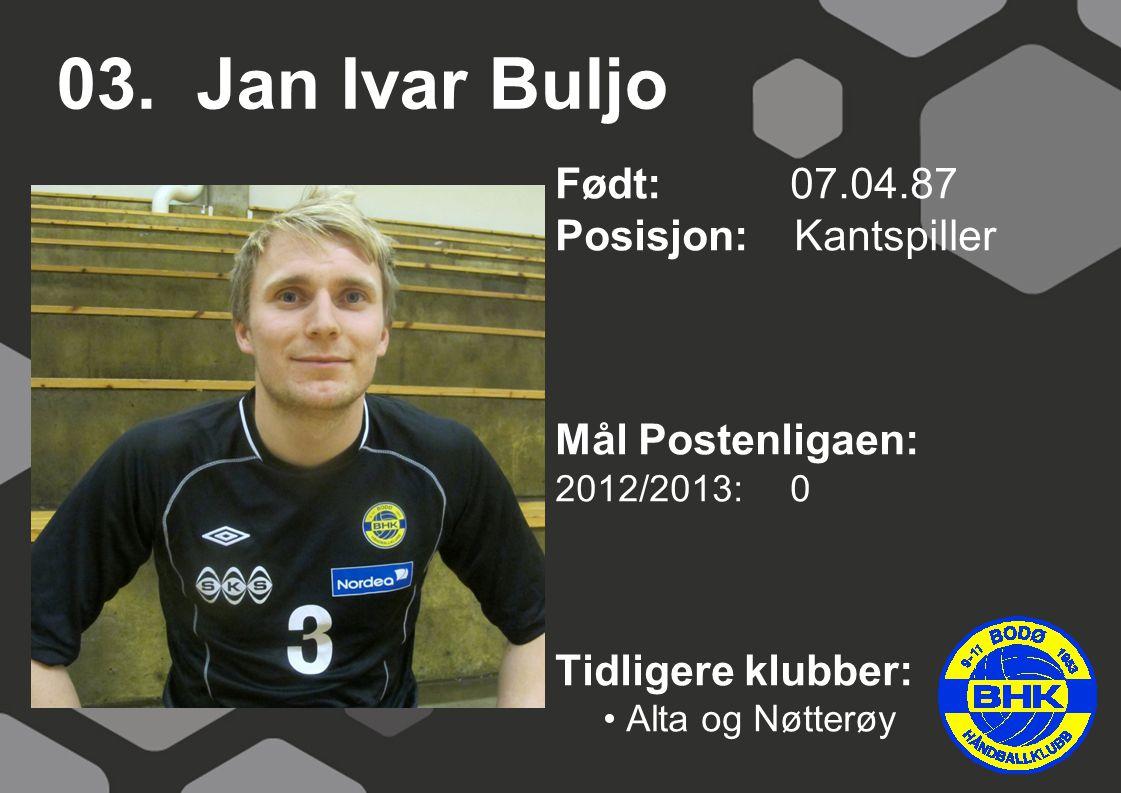 03. Jan Ivar Buljo Født: 07.04.87 Posisjon: Kantspiller