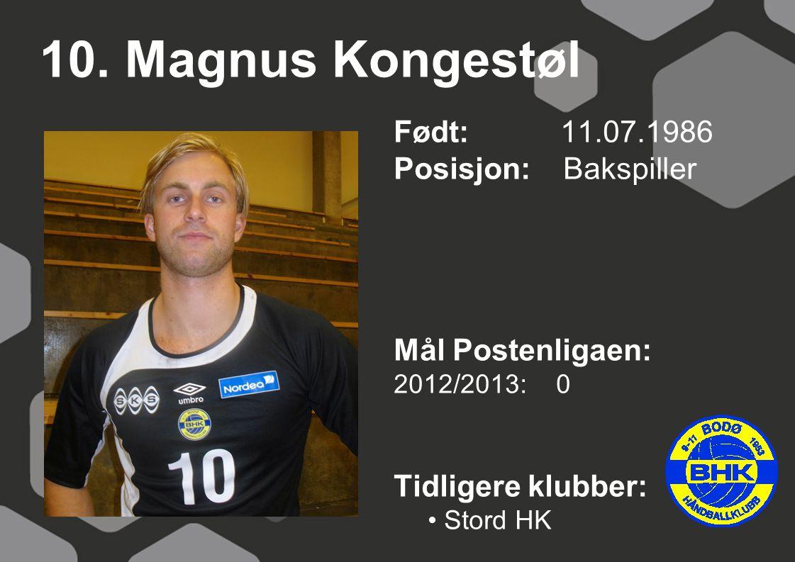 10. Magnus Kongestøl Født: 11.07.1986 Posisjon: Bakspiller
