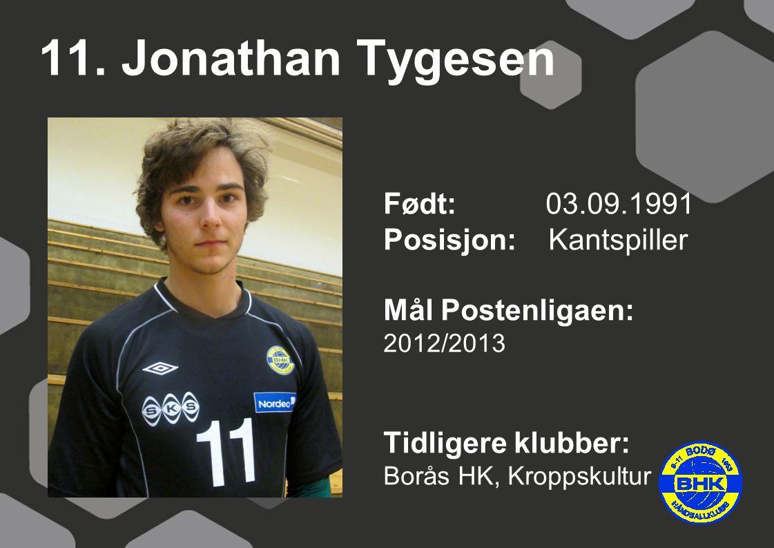 11. Jonathan Tygesen Født: 03.09.1991 Posisjon: Kantspiller