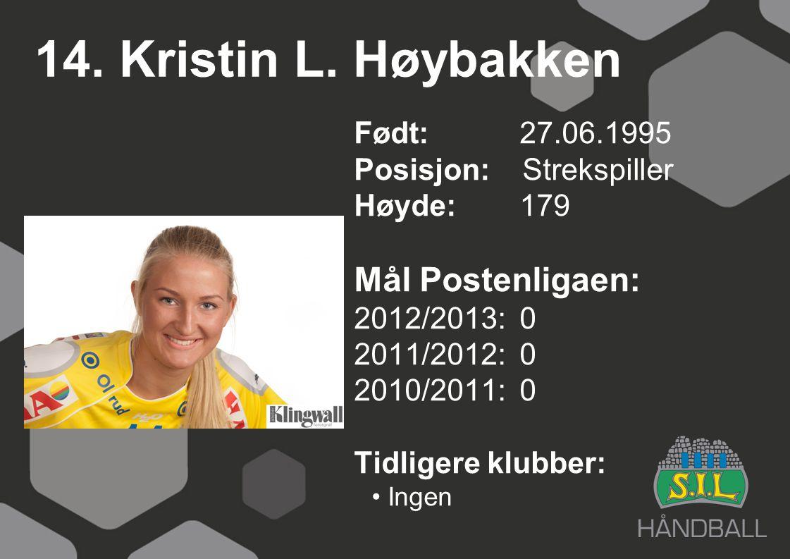 14. Kristin L. Høybakken Mål Postenligaen: