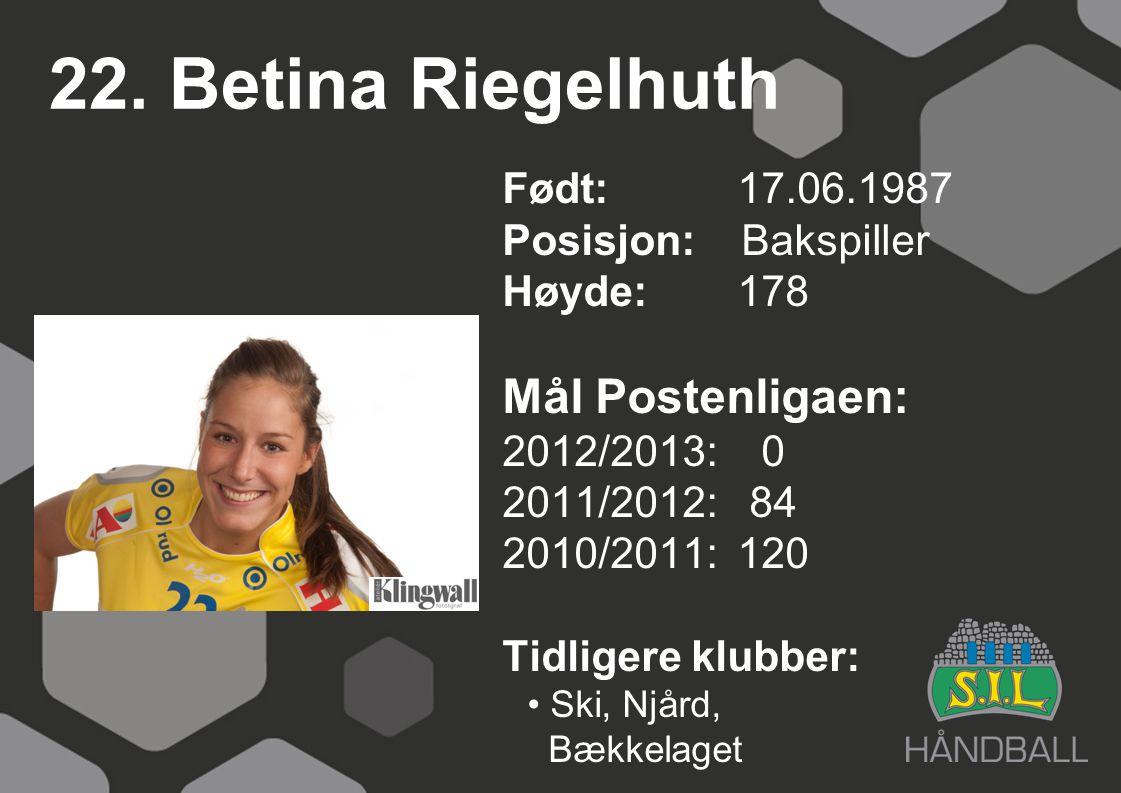 22. Betina Riegelhuth Mål Postenligaen: