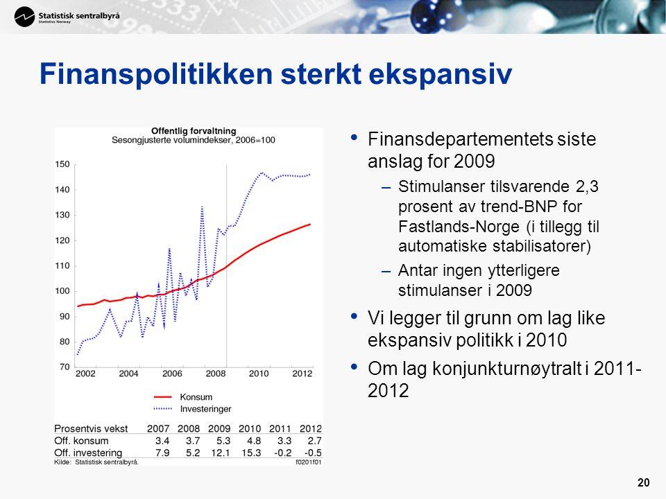 Finanspolitikken sterkt ekspansiv