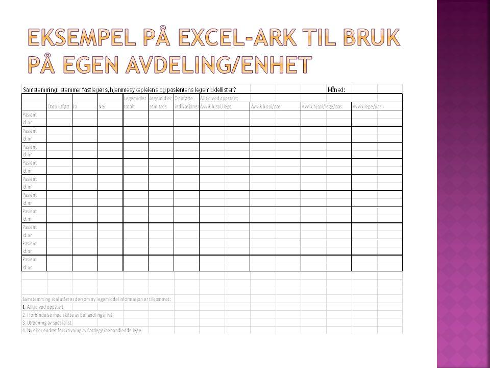 Eksempel på excel-ark til bruk på egen avdeling/enhet