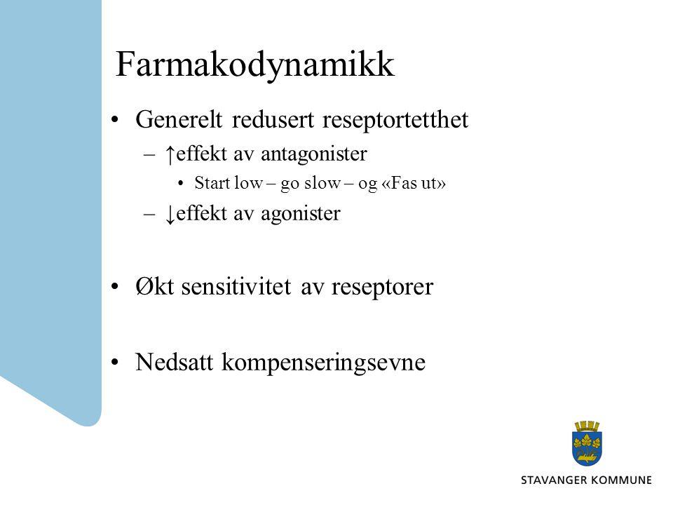 Farmakodynamikk Generelt redusert reseptortetthet