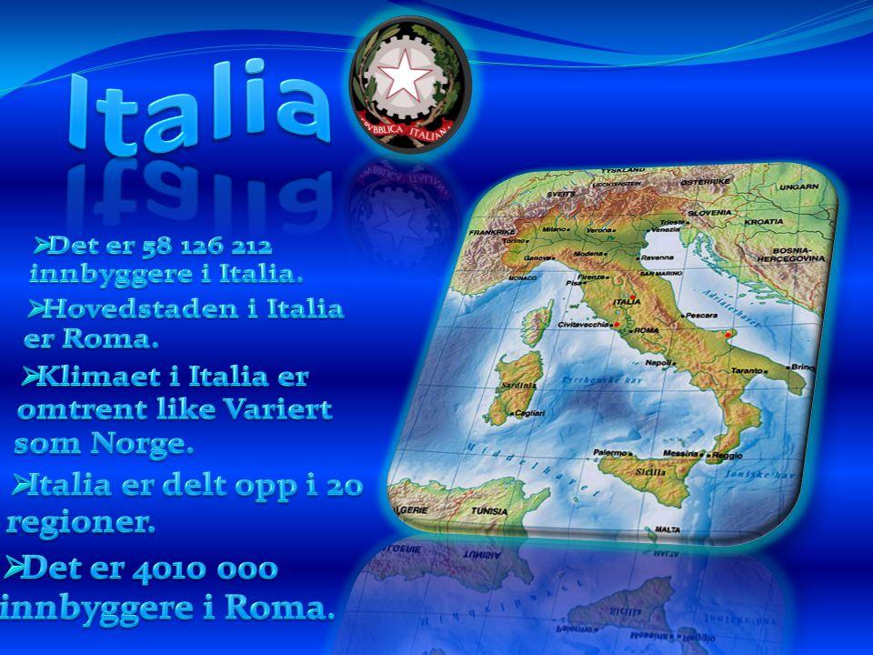 Italia Det er 58 126 212 innbyggere i Italia.