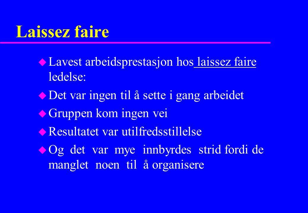 Laissez faire Lavest arbeidsprestasjon hos laissez faire ledelse: