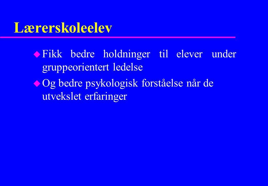 Lærerskoleelev Fikk bedre holdninger til elever under gruppeorientert ledelse.