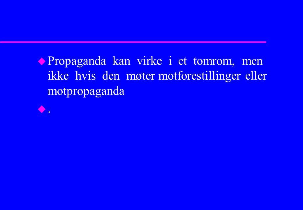 Propaganda kan virke i et tomrom, men ikke hvis den møter motforestillinger eller motpropaganda