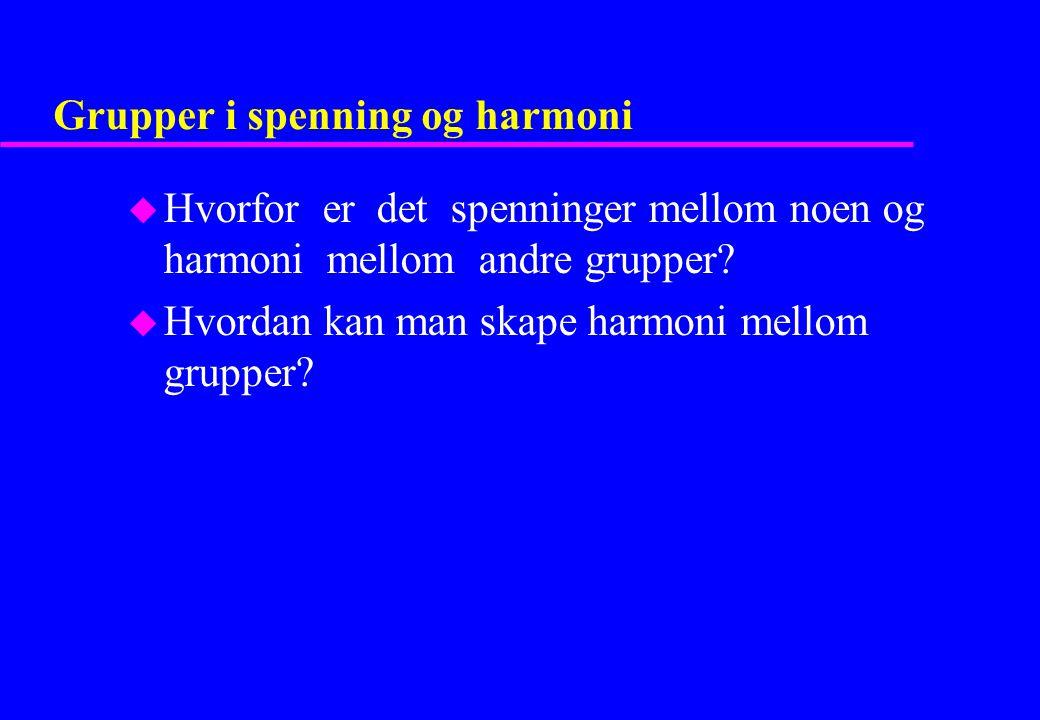 Grupper i spenning og harmoni