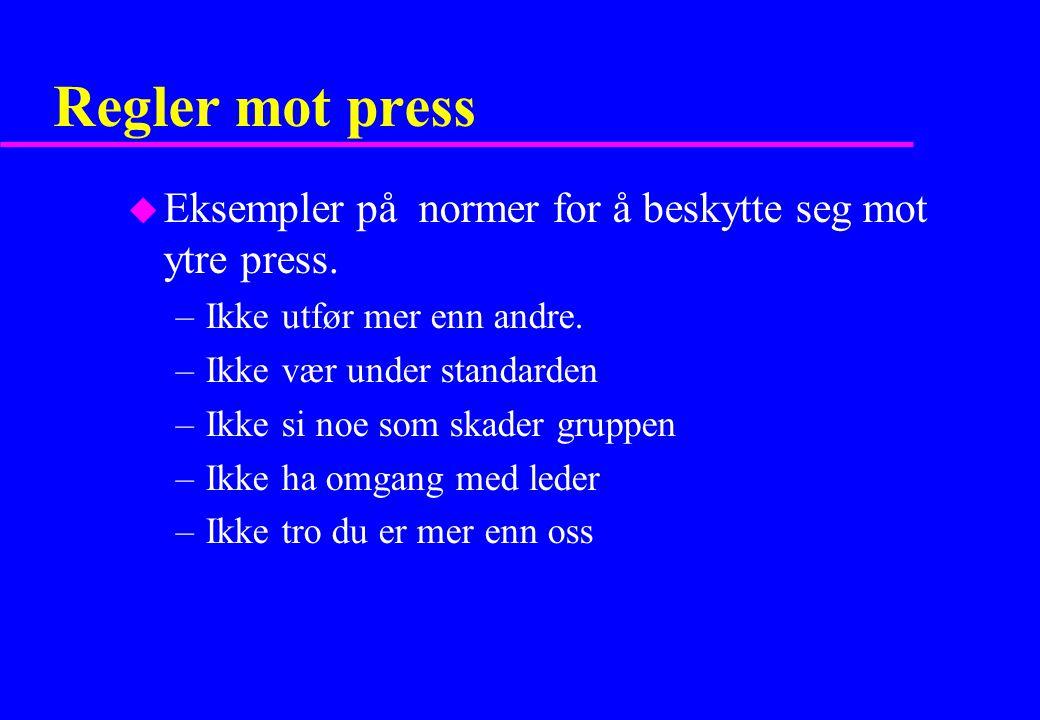 Regler mot press Eksempler på normer for å beskytte seg mot ytre press. Ikke utfør mer enn andre.