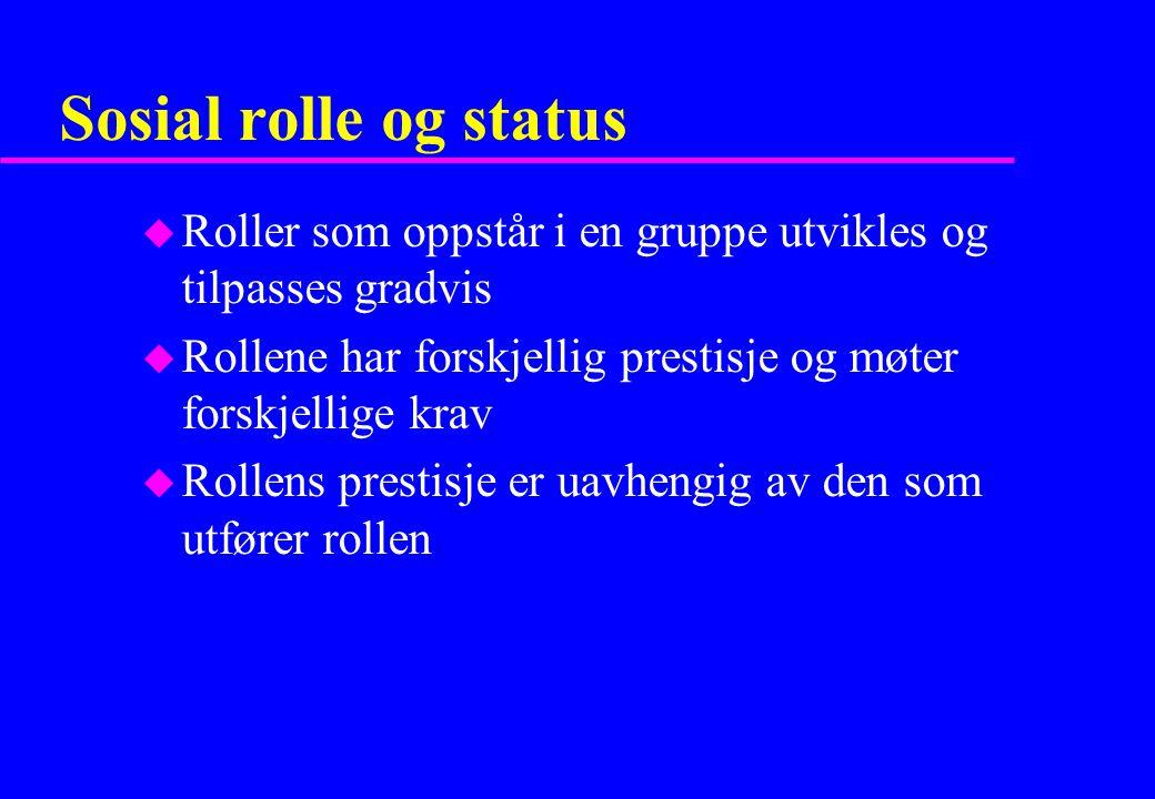 Sosial rolle og status Roller som oppstår i en gruppe utvikles og tilpasses gradvis. Rollene har forskjellig prestisje og møter forskjellige krav.