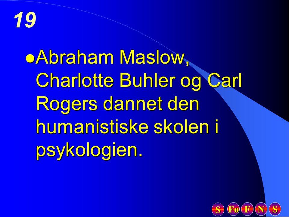 Abraham Maslow, Charlotte Buhler og Carl Rogers dannet den humanistiske skolen i psykologien.