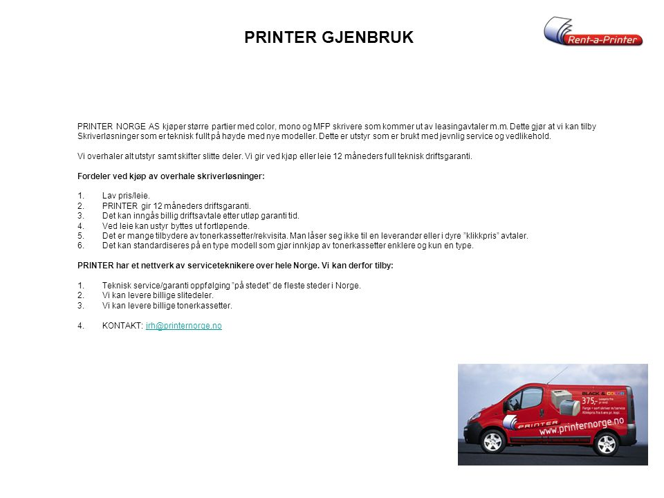PRINTER GJENBRUK