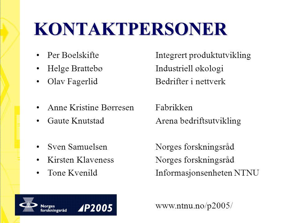 KONTAKTPERSONER Per Boelskifte Integrert produktutvikling