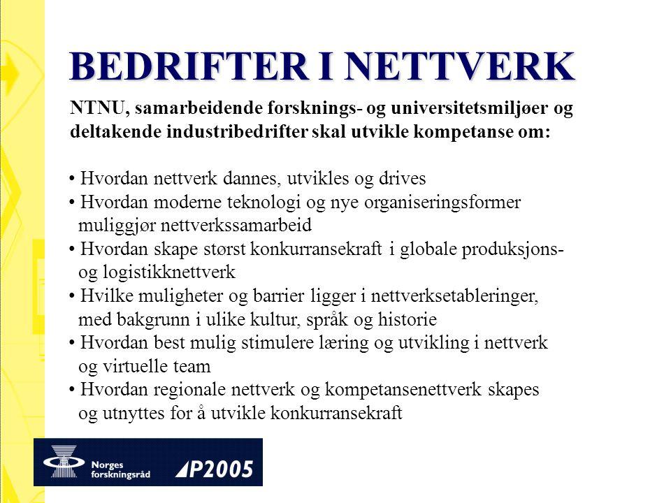 BEDRIFTER I NETTVERK NTNU, samarbeidende forsknings- og universitetsmiljøer og. deltakende industribedrifter skal utvikle kompetanse om: