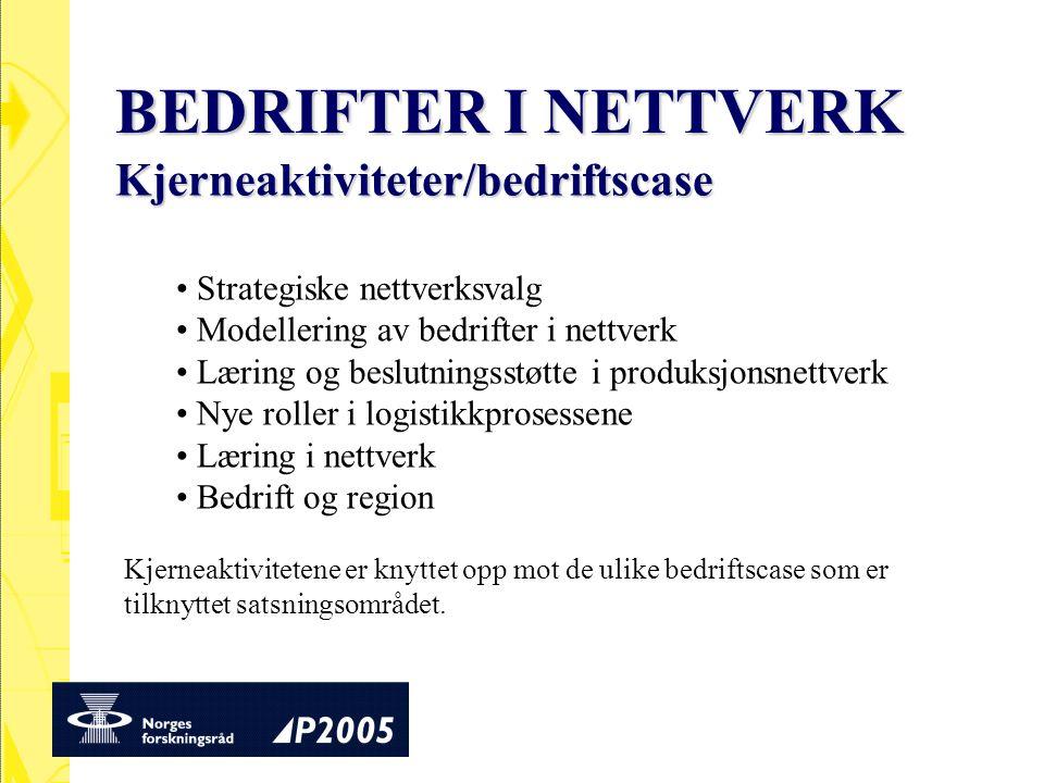 BEDRIFTER I NETTVERK Kjerneaktiviteter/bedriftscase