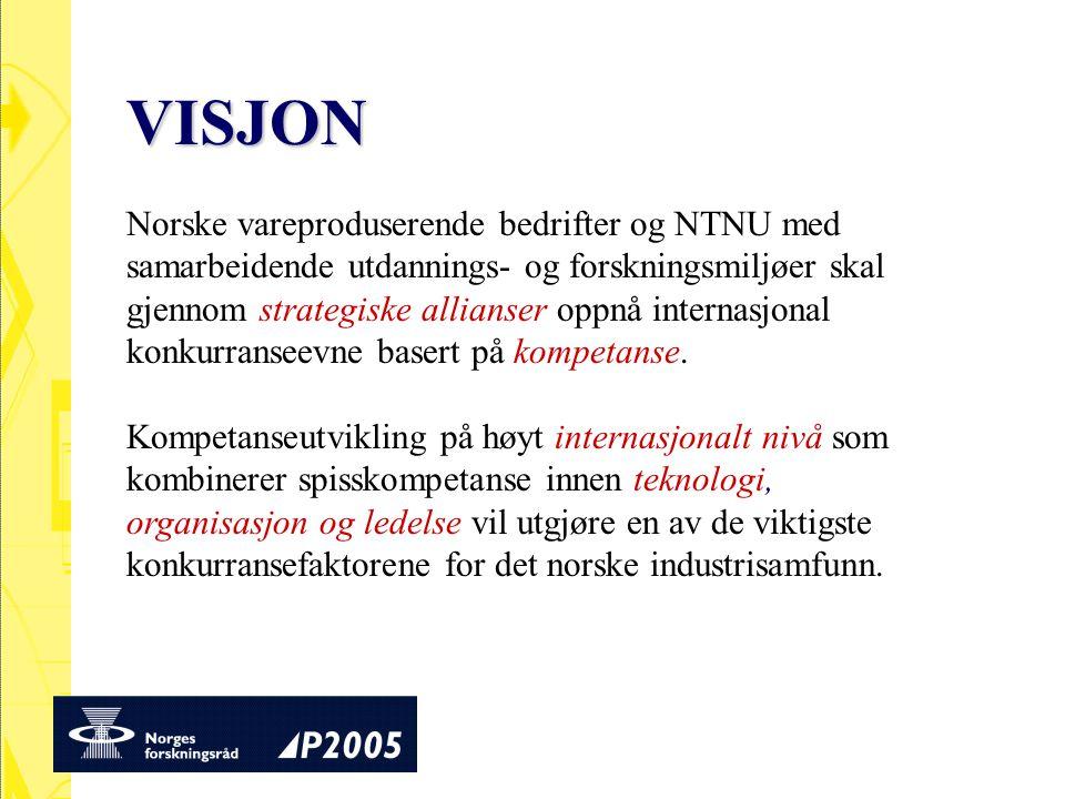 VISJON Norske vareproduserende bedrifter og NTNU med