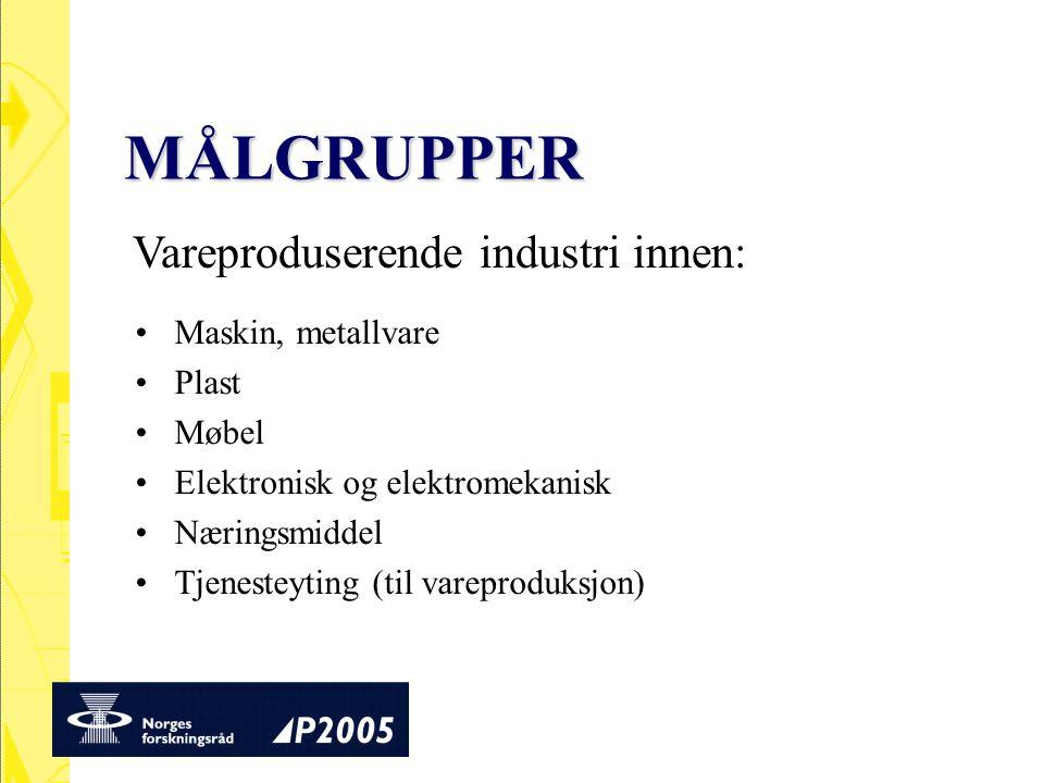 MÅLGRUPPER Vareproduserende industri innen: Maskin, metallvare Plast