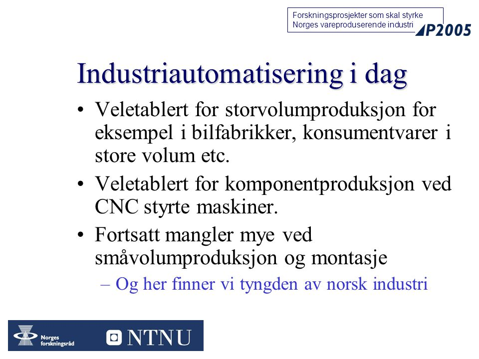 Industriautomatisering i dag