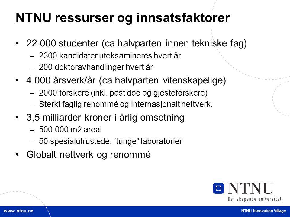 NTNU ressurser og innsatsfaktorer