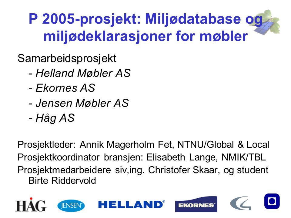 P 2005-prosjekt: Miljødatabase og miljødeklarasjoner for møbler