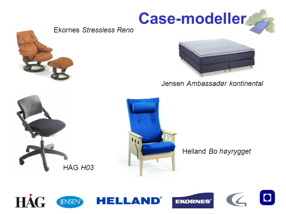 Case-modeller Ekornes Stressless Reno Jensen Ambassadør kontinental