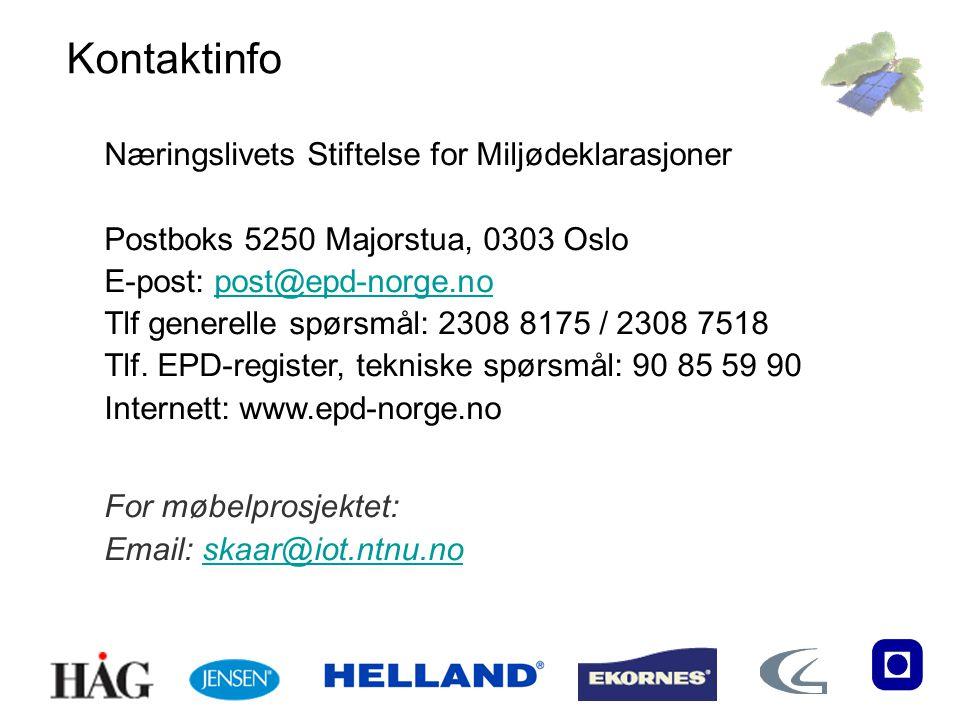 Kontaktinfo Næringslivets Stiftelse for Miljødeklarasjoner