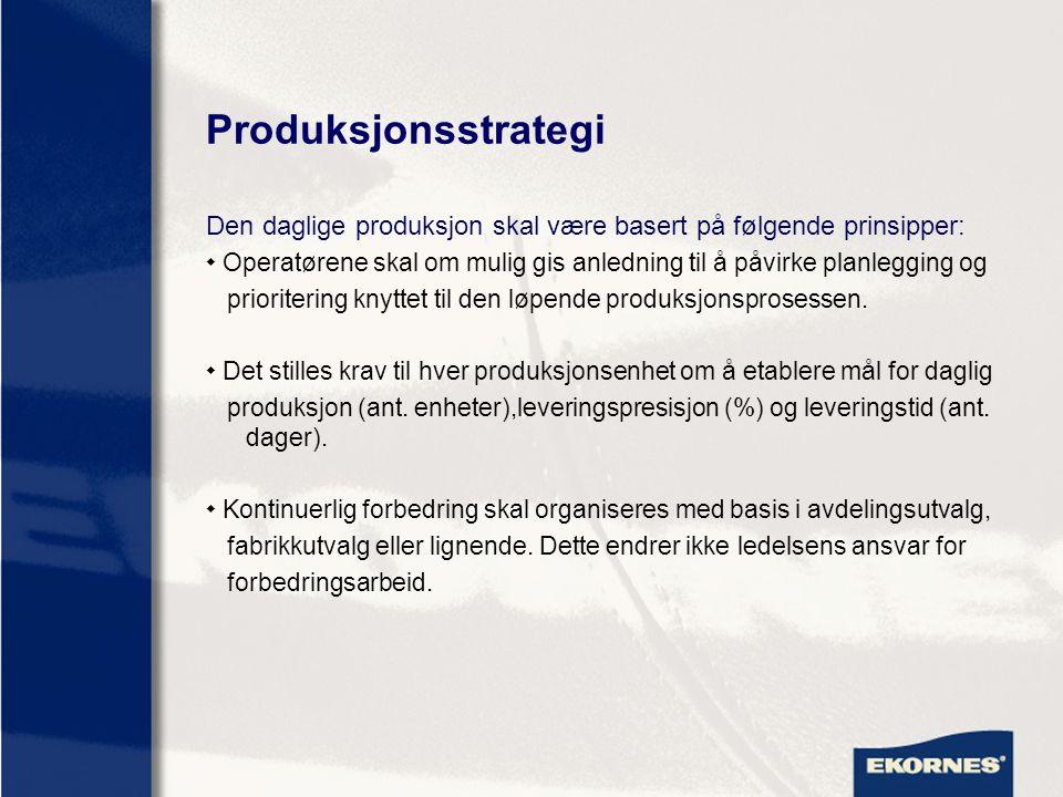 Produksjonsstrategi Den daglige produksjon skal være basert på følgende prinsipper: