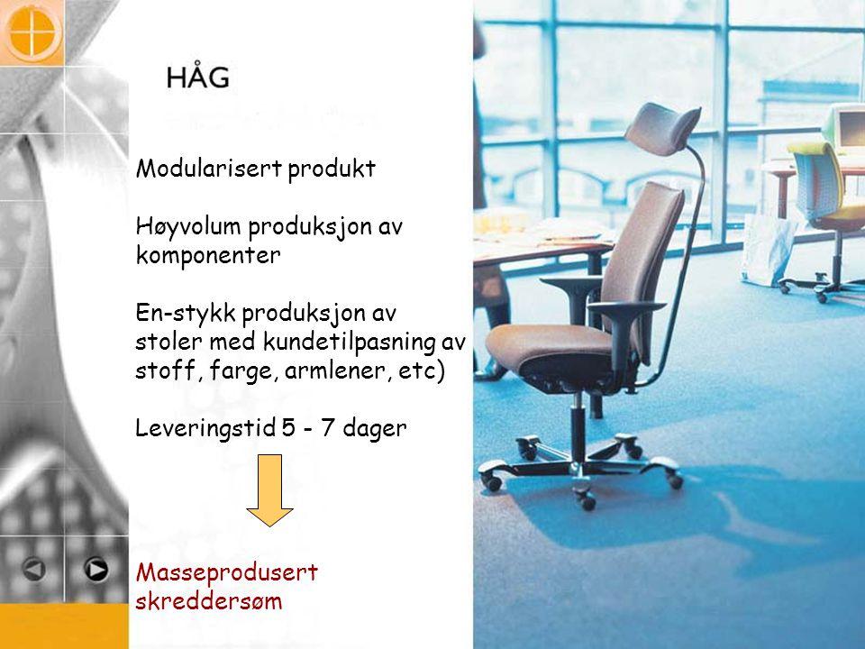 Modularisert produkt Høyvolum produksjon av komponenter. En-stykk produksjon av stoler med kundetilpasning av stoff, farge, armlener, etc)
