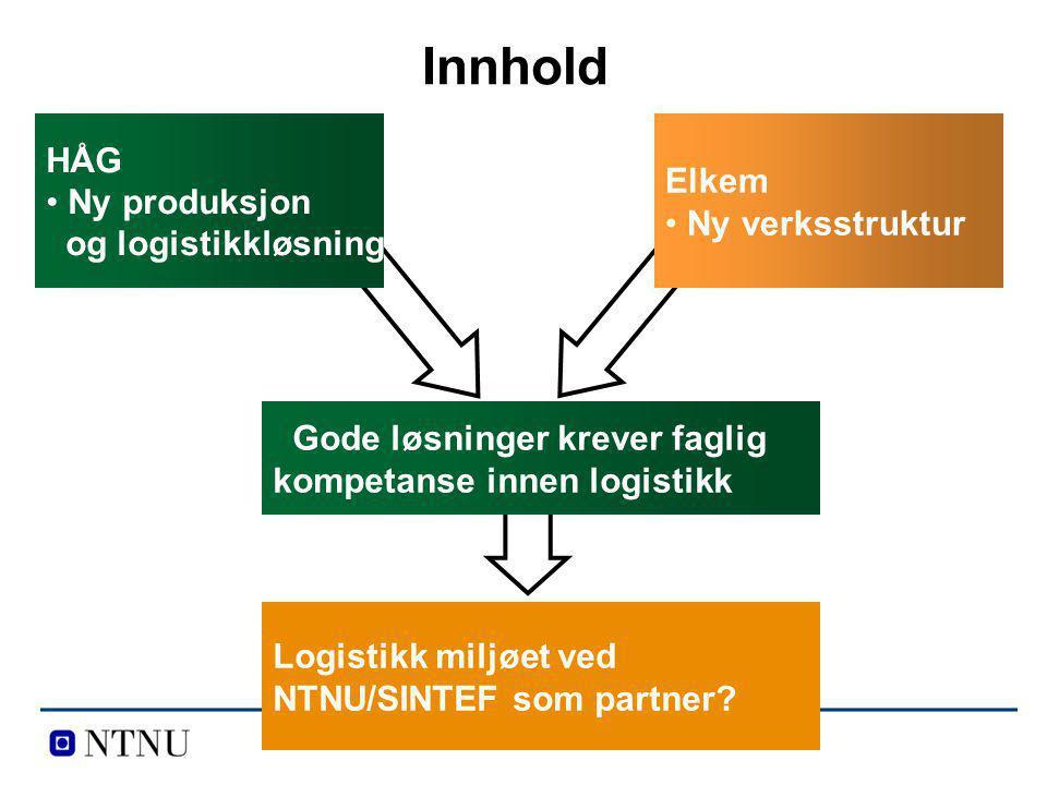 Innhold HÅG Elkem Ny produksjon og logistikkløsning Ny verksstruktur