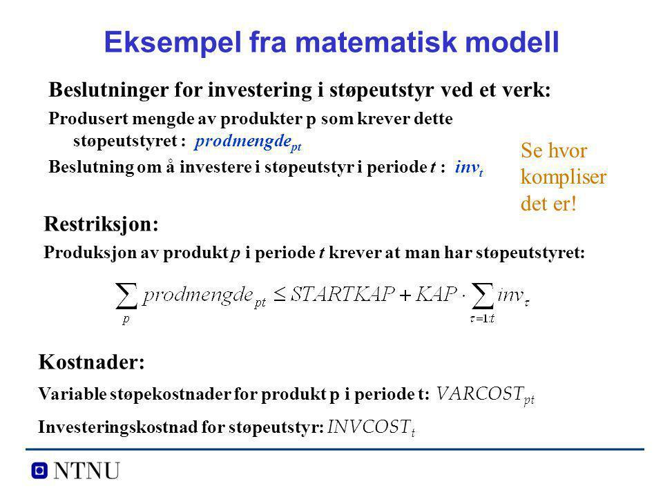 Eksempel fra matematisk modell