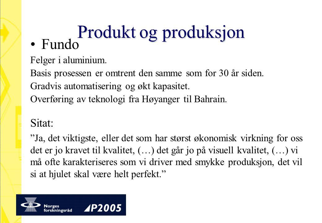Produkt og produksjon Fundo Sitat: Felger i aluminium.