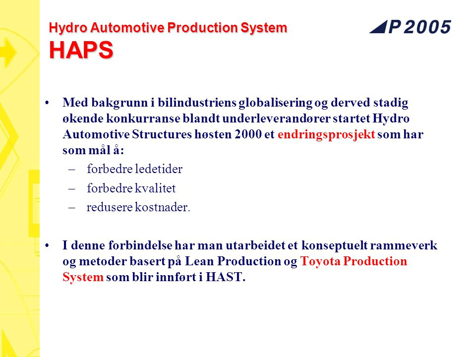 Hydro Automotive Production System HAPS