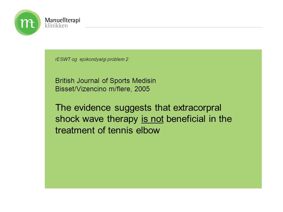 rESWT og epikondyalgi problem 2: