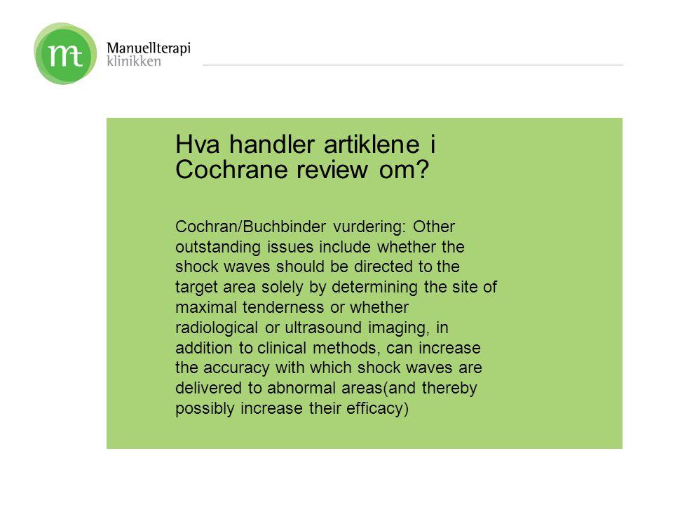 Hva handler artiklene i Cochrane review om