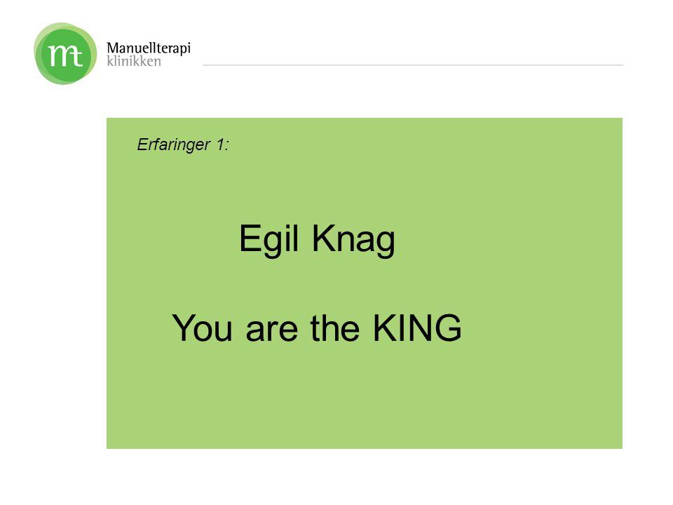 Erfaringer 1: Egil Knag You are the KING