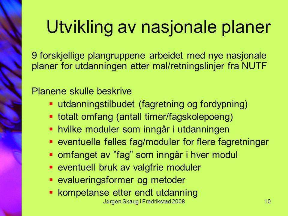 Utvikling av nasjonale planer