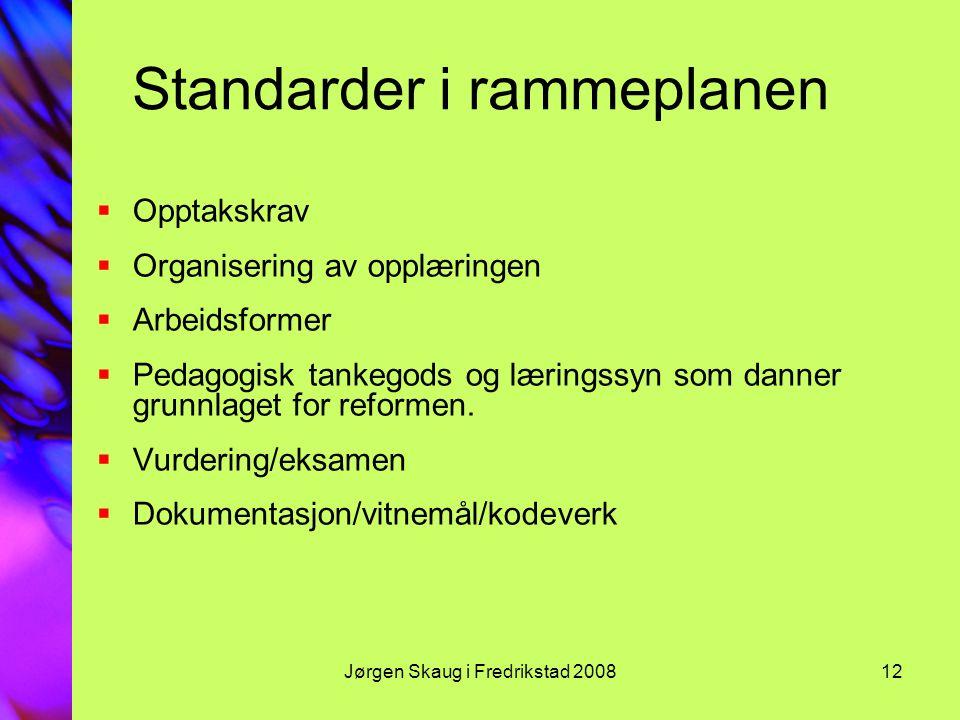 Standarder i rammeplanen