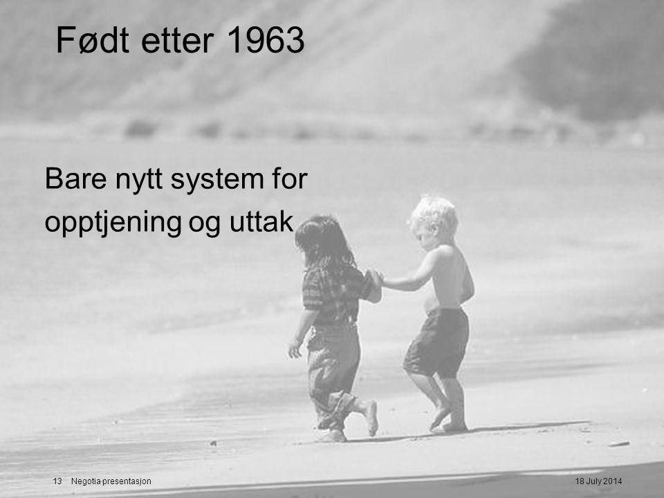 Født etter 1963 Bare nytt system for opptjening og uttak 04/04/2017
