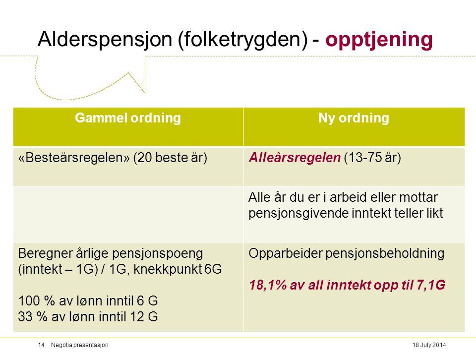 Alderspensjon (folketrygden) - opptjening