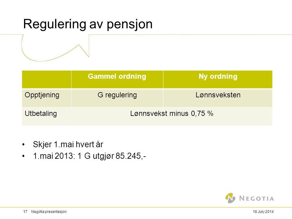 Regulering av pensjon Skjer 1.mai hvert år