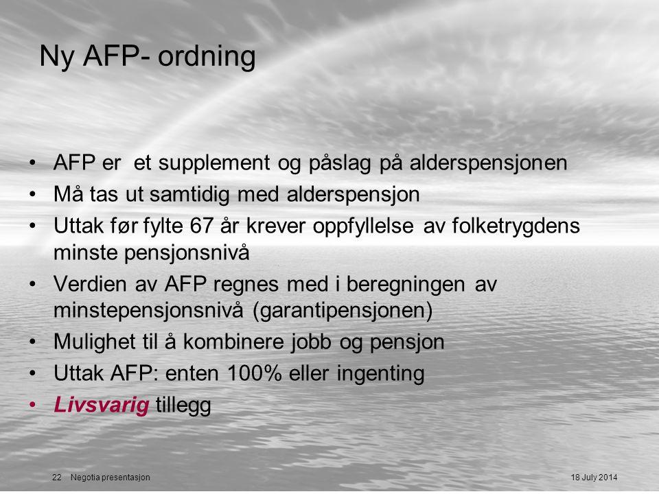 Ny AFP- ordning AFP er et supplement og påslag på alderspensjonen