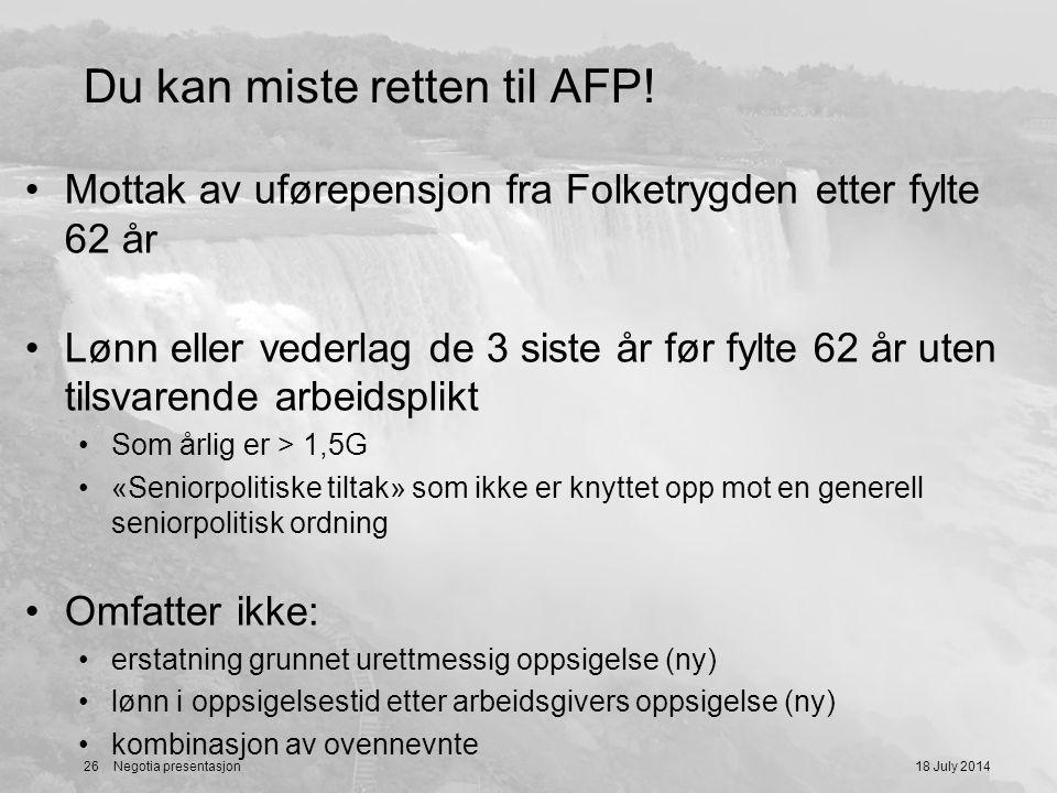 Du kan miste retten til AFP!