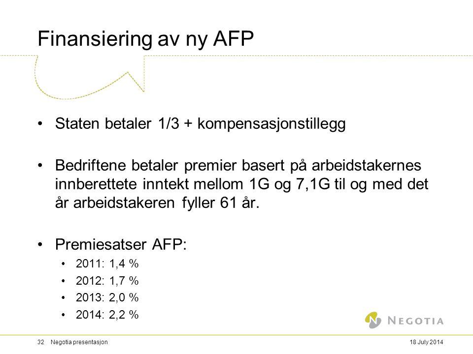 Finansiering av ny AFP Staten betaler 1/3 + kompensasjonstillegg