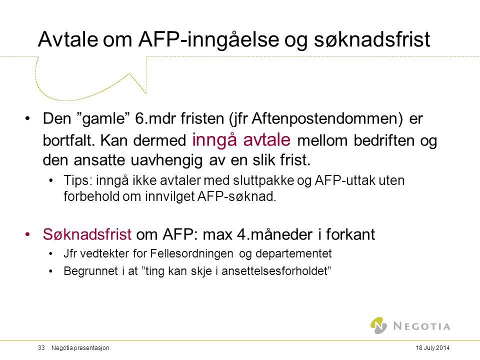 Avtale om AFP-inngåelse og søknadsfrist