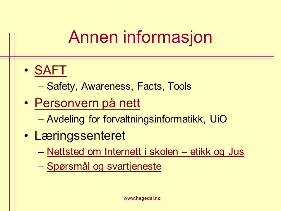 Annen informasjon SAFT Personvern på nett Læringssenteret