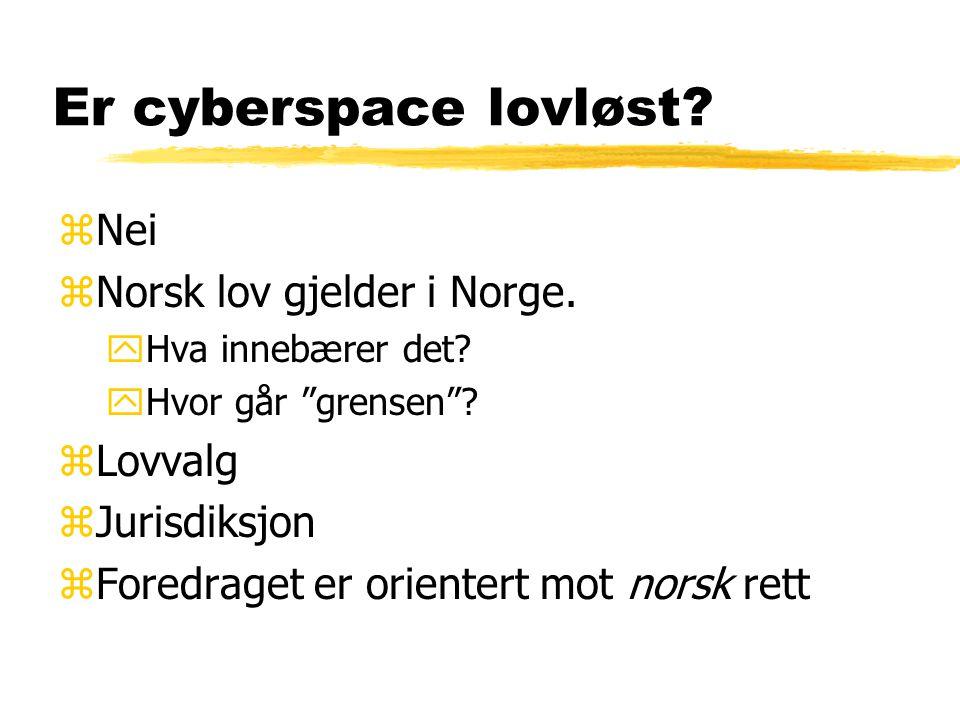 Er cyberspace lovløst Nei Norsk lov gjelder i Norge. Lovvalg
