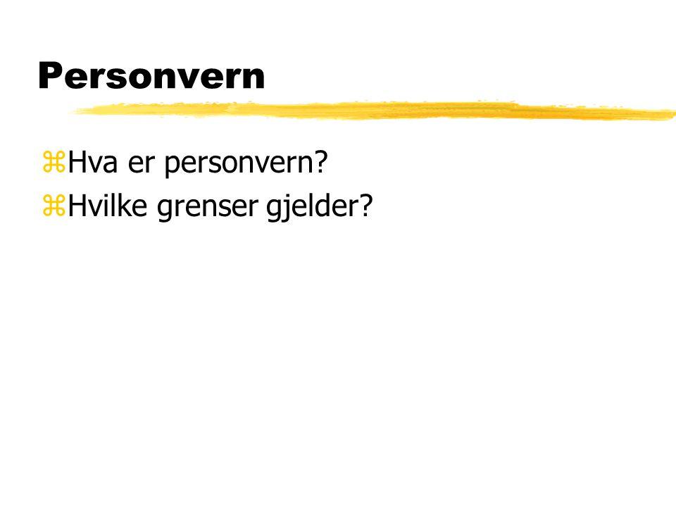 Personvern Hva er personvern Hvilke grenser gjelder