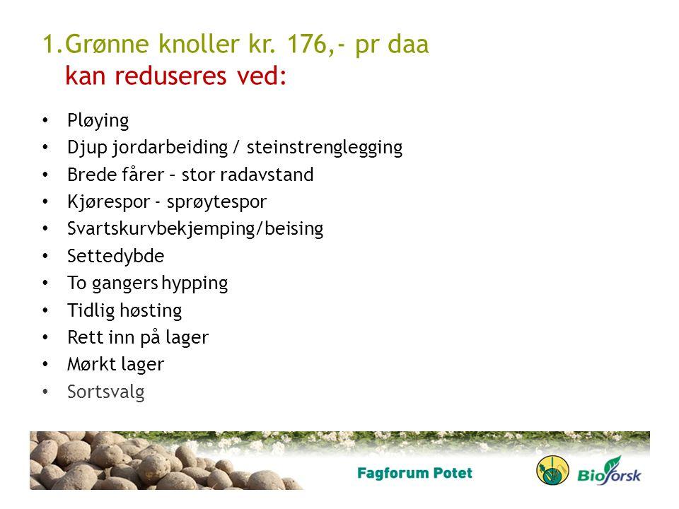1.Grønne knoller kr. 176,- pr daa kan reduseres ved: