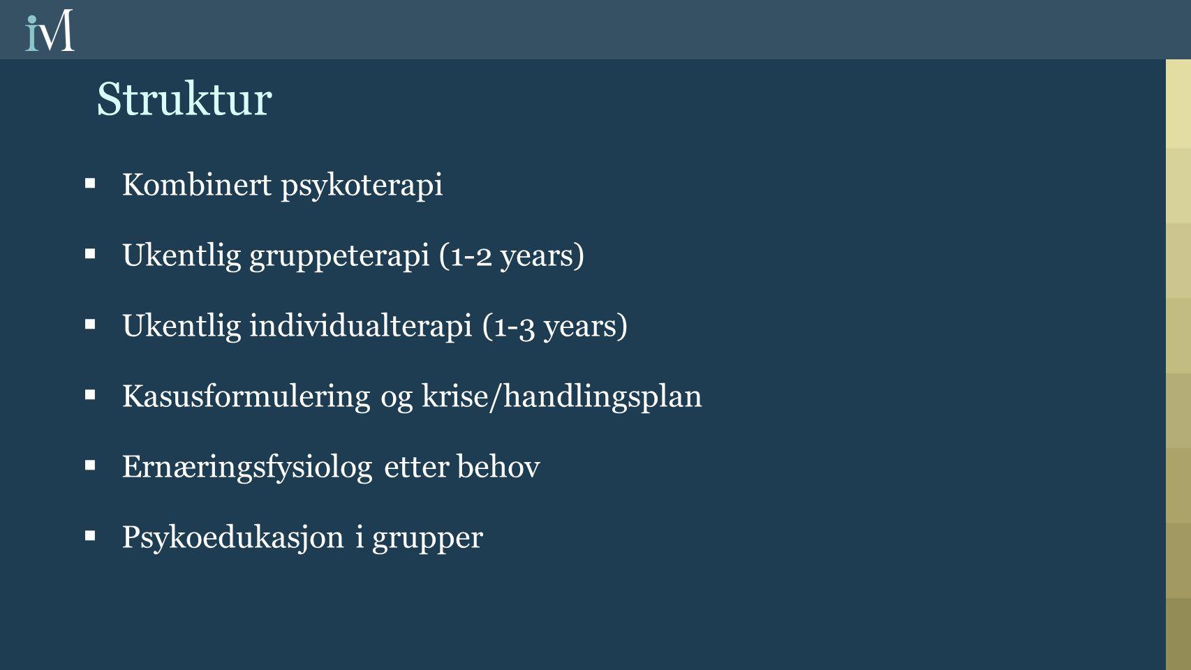 Struktur Kombinert psykoterapi Ukentlig gruppeterapi (1-2 years)